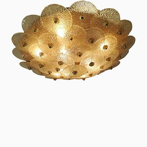 Large Vintage Golden Crystal Ceiling Light