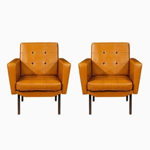 Italienischer Vintage Sessel aus Kunstleder & Metall, 2er Set