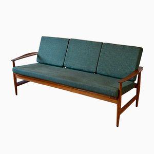 Mid-Century Danish 3-Seater Sofa with Teak Frame