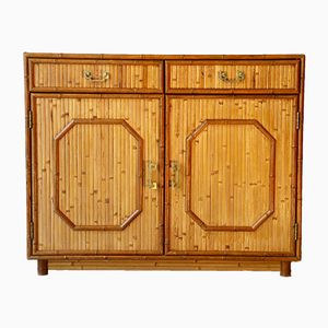 Bamboo & Brass Commode with Two Doors, 1960s