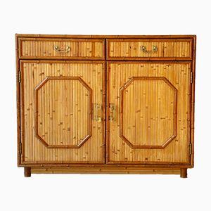 Kommode aus Bambus & Messing mit 2 Türen, 1960er