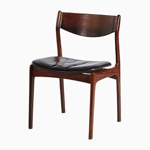 Vintage Rosewood Dining Chair with Leather Seat, 1960s