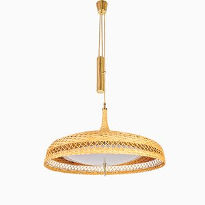 Adjustable Woven Rattan Pendant Lamp, 1960s