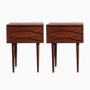 Danish Teak Nightstands by Arne Vodder for N.C. Mobler, 1950s, Set of 2
