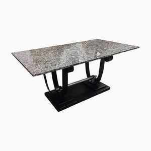 Art Deco Tisch mit Marmorplatte & Metallgestell, 1930er