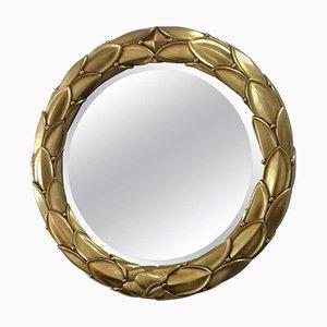 Runder Vintage Spiegel mit goldenem Stuckrahmen