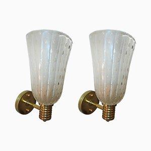 Applique vintage in ottone e vetro di Murano, set di 2