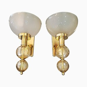 Vintage Murano Glass and Brass Italian Sconces, Set of 2
