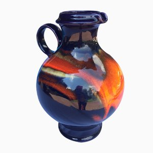 Mid-Century Deep Blue & Orange Ceramic Vase by Renée Neue for Hutschenreuther