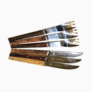 Mid-Century Hunting Cutlery Set in Rosewood by Helmut Alder for Amboss