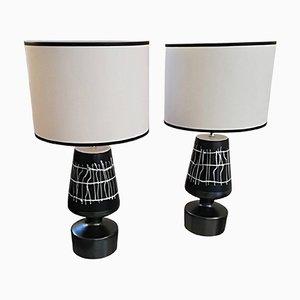 Französische Vintage Tischlampen aus Keramik, 2er Set