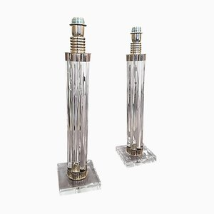 Vintage Glass and Nickel Plated Metal Table Lamps, Set of 2