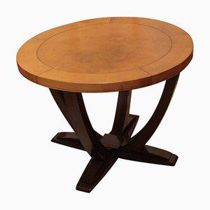 Tavolo Art Déco in legno e pelle, Francia, anni '30