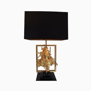 Vintage Table Lamp with Bronze Buddha from Maison Guerin, 1970s