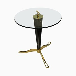 Vintage Italian Brass & Black Opaline Glass Gueridon Table