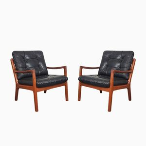Teak & Leather Lounge Chairs by Ole Wansher for Cado, 1960s, Set of 2
