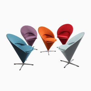 Danish Cone Chairs by Verner Panton for Rosenthal, 1960s, Set of 5
