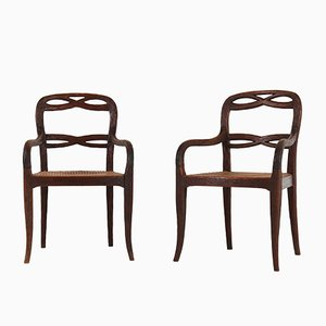 Antique Dutch Black Forest Fruitwood Armchairs, 1900s