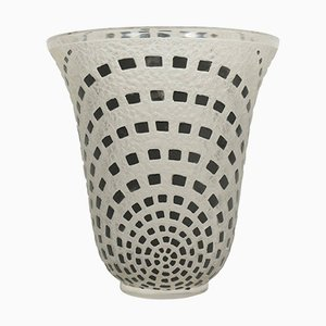 Vintage Damiers Vase aus schwarzer Emaille von René Lalique