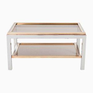 Mesa auxiliar rectangular de latón, metal cromado y vidrio de Willy Rizzo, años 70