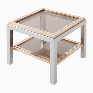 Mesa auxiliar cuadrada de latón, vidrio y metal cromado de Willy Rizzo, años 70