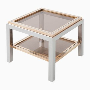 Tavolino quadrato in ottone, metallo cromato e vetro di Willy Rizzo, anni '70