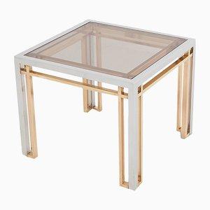 Tavolini da caffè in metallo cromato, ottone e vetro di Romeo Rega, anni '70, set di 2