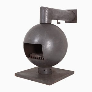 Brutalist Spherical Cast Iron Fireplace by Dries Kreijkamp, 1960s