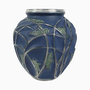 Vintage Sauterelles Vase by René Lalique