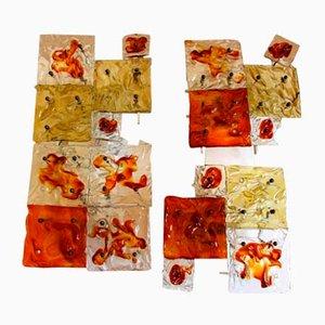 Wandleuchten aus Muranoglas, 1970er, 2er Set