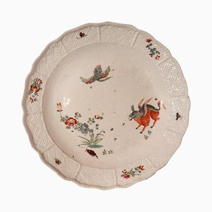 Antique Painted Porcelain Plate from Meissen, 1730s