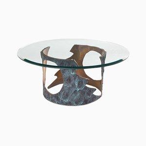 Mesa de centro de bronce macizo y vidrio de Willy Ceysens, años 70