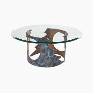 Table Basse en Bronze Massif & Verre par Willy Ceysens, 1970s