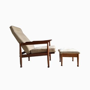 Teak Manhattan Armchair and Footstool by Guy Rogers, 1960s