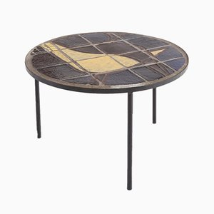 Mid-Century Coffee Table with Black Steel Frame & Mosaic Inlay