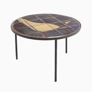 Table Basse Mid-Century avec Cadre en Acier Noir & Incrustation de Mosaïque