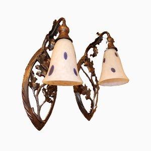 Vintage Leuchten mit Distelverzierungen von Daum, 2er Set