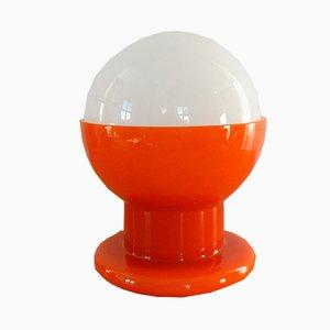Vintage Tischlampe aus orangenem und weißem Glas