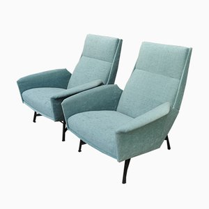 Metal & Fabric Lounge Chairs by Claude Vassal for Claude Delor, 1950s, Set of 2