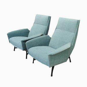 Sessel aus Metall & Stoff von Claude Vassal für Claude Delor, 1950er, 2er Set