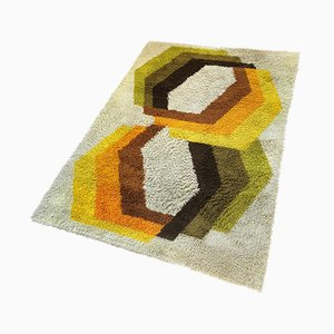 Large Vintage Multicolor Abstract High Pile Rug from Desso, 1970s