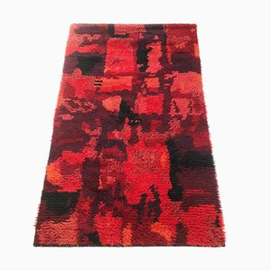 Abstract Finnish High Pile Pop Art Rya Rug, 1960s