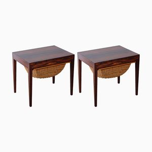 Rosewood Sewing Tables by Severin Hansen for Haslev Møbelsnedkeri, Set of 2
