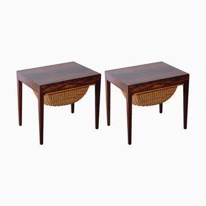 Tables à Couture en Palissandre par Severin Hansen pour Haslev Møbelsnedkeri, Set de 2