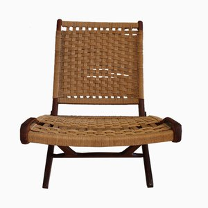 Mid-Century Scandinavian Folding Lounge Chair with Cord