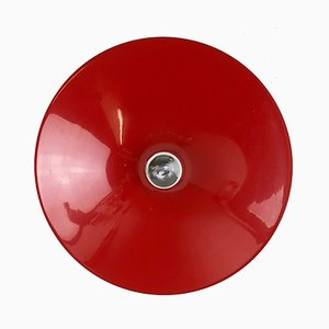 Große rote italienische Wandlampe in Teller-Optik von Stilnovo, 1970er