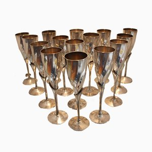 Champagne Flutes in Silvered Metal, 1970s, Set of 15
