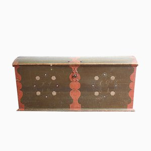 Antique Swedish Painted Marriage Chest, 1831