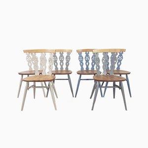 Farbige Esszimmerstühle mit Lilienmotiven von Lucian Ercolani für Ercol, 1960er, 6er Set