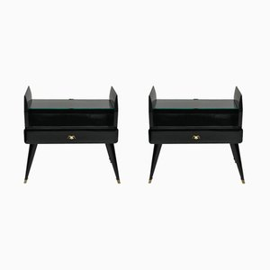 Lacquered Nightstands, 1950s, Set of 2